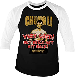 Bloodsport Officially Licensed Chong Li Baseball 3/4 Sleeve T-Shirt (Black-White)