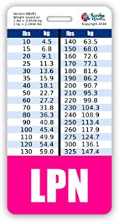 LPN Badge Buddy Vertical w/Height & Weight Conversion Charts (Pink)