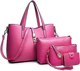 84c27d57393b10 SIFINI Women Fashion PU Leather Handbag+Shoulder Bag+Purse+Card Holder 4pcs  Set