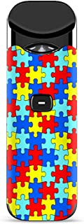 IT'S A SKIN Decal Vinyl Wrap for Smok Nord Pod System Vape Sticker Sleeve/Colorful Puzzle Pieces Autism