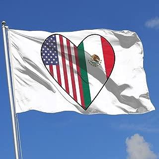 YTGQ4PT Half Mexico Flag Half USA Flag Love Heart Super Polyester Flag 3x5 F Banner with Grommets