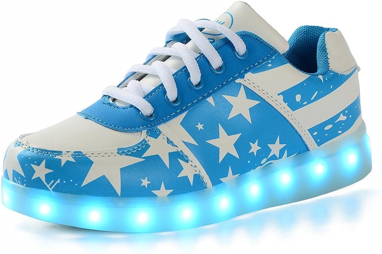 Pit4tk Unisex Women Men USB Charging LED Luminous American Flag Sport shoes Flashing Sneakers