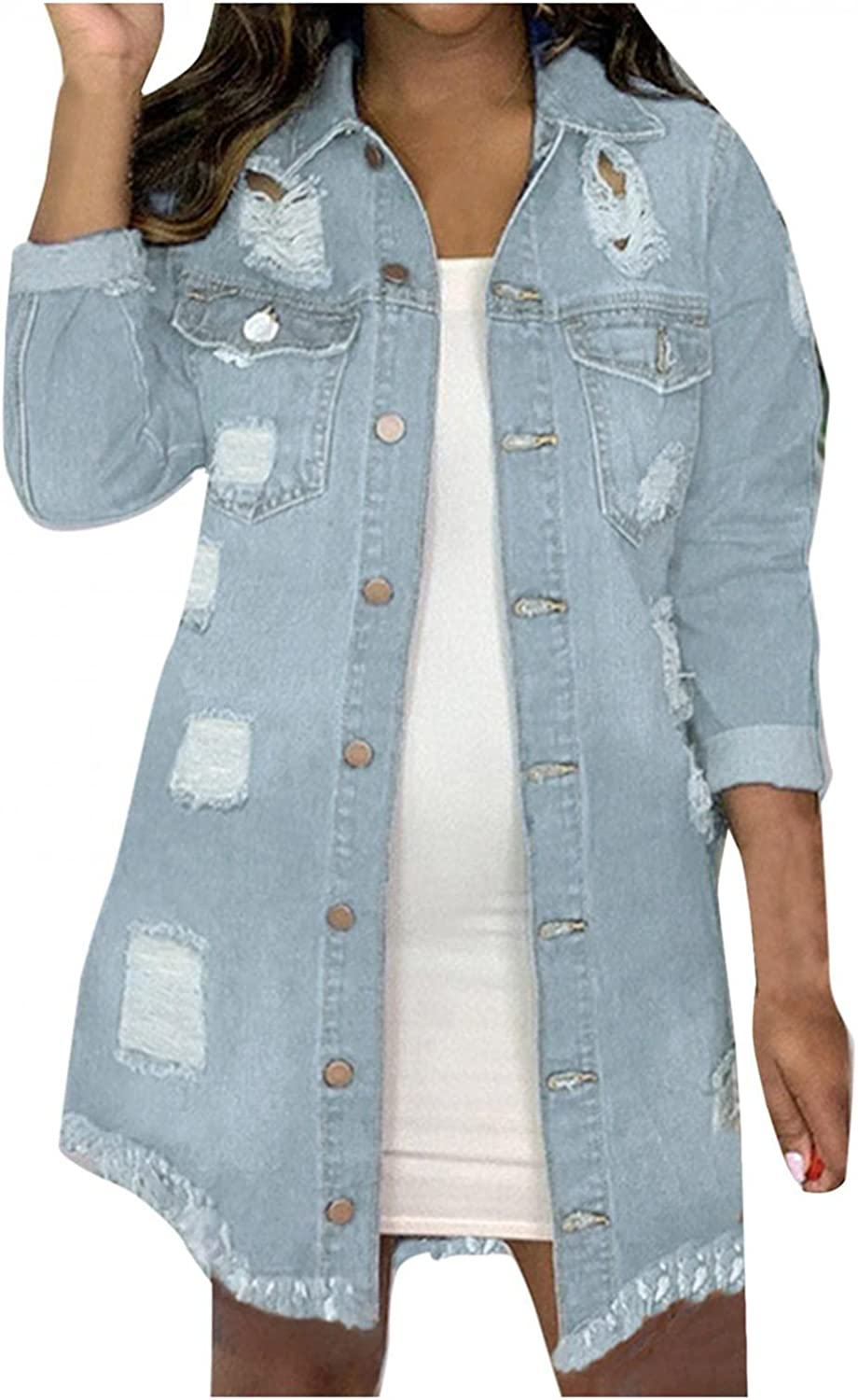 SUIQU Women's Casual Distressed Denim Jacket Hem Low Ripped Same day shipping Milwaukee Mall High