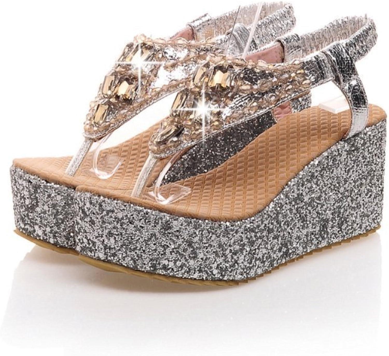 Oppicong Sneakers Glittering Beaded Bohemia Women Beach Sandals Rhinestone Flip Flops Lady Diamand Platform Wedge shoes in Winter Comfortable