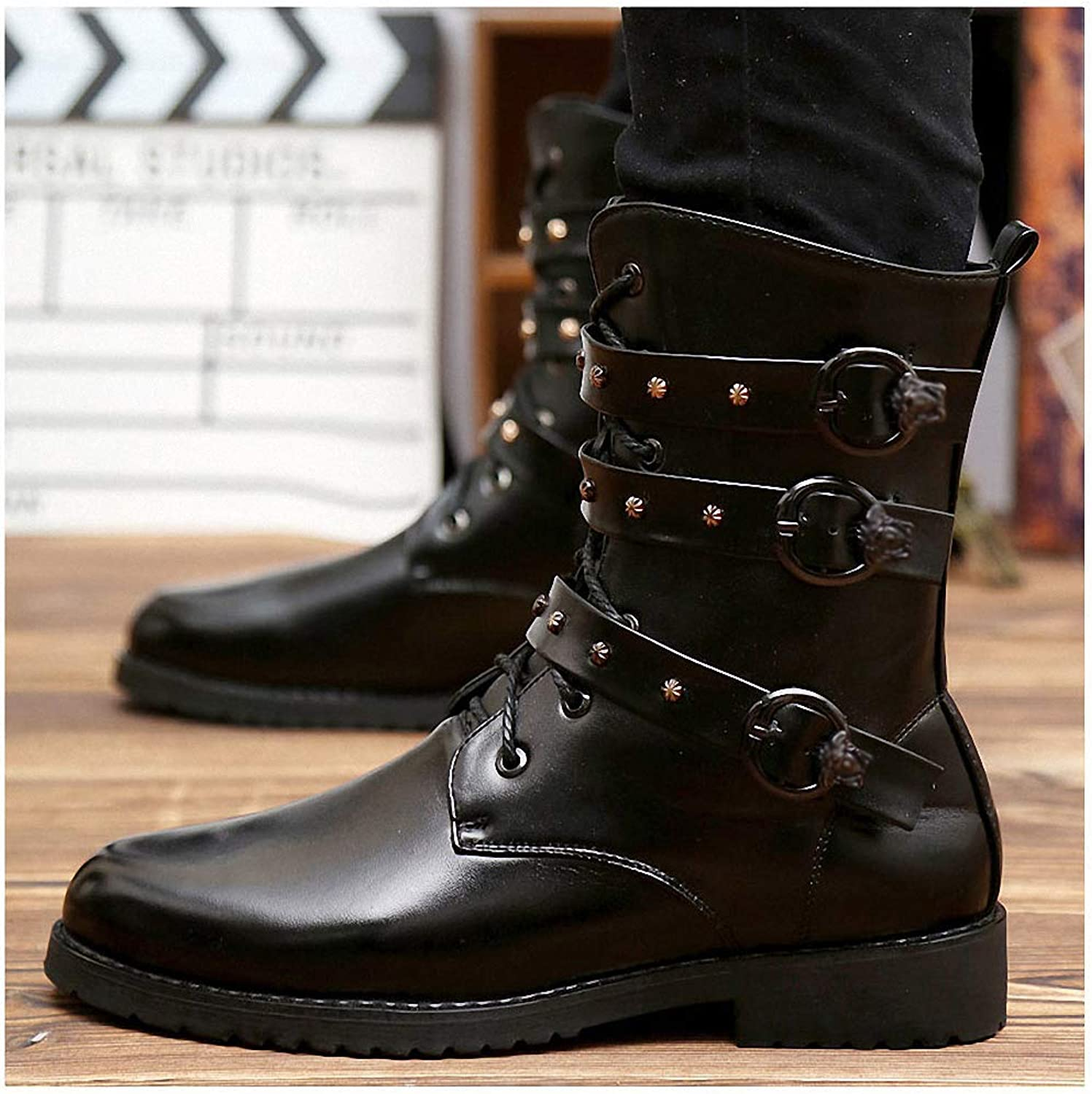 Mens Backpacking Boots Gothic Ankle Strap Boots Punk Men shoes Spring Autumn Motorcycle Men Boots High-Cut Lace-up Warm Men Casual shoes