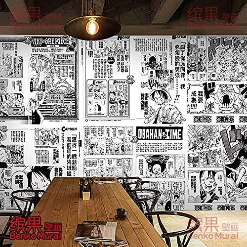 Japanese Style Hand-Painted Poster Anime Wallpaper Mural Black and White One Piece Manga Wallpaper 200(L) x140(H) cm