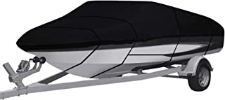 RainMan S Waterproof Heavy Duty 210D Boat Cover Trailerable Fishing Ski Bass V-Hull Tri-Hull Runabouts Black