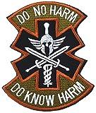 OUTGEEK 2 parches de Morale Sparta [Do NO HARM] médicos bordados moral parches militares, parches tácticos, parches de velcro (gris militar)