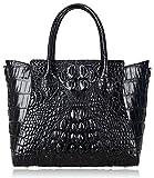 PIJUSHI Embossed Crocodile Handbags for Ladies Designer Purses Top Handle Shoulder Bag (6082 Black)