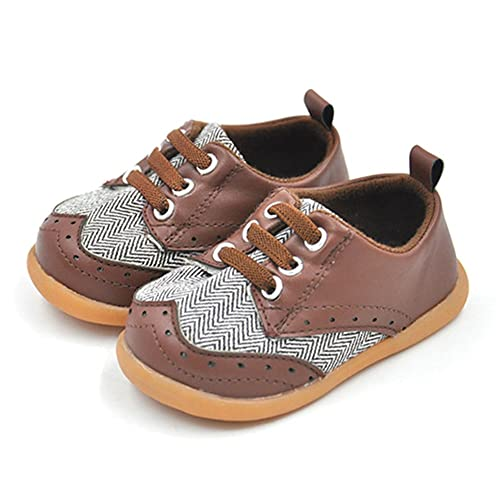 bb82e8f2eabf3 QGAKAGO Baby Boys Or Girls PU Leather + Canvas Soft Rubber Sole Outdoor Prewalker  Shoes (