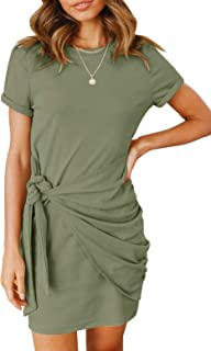 Women's Short Sleeve Crew Neck T Shirt Dress Tie Waist...