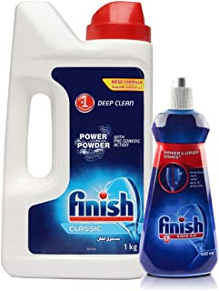Finish Rinse Aid, Shine & Dry- 400 ml and Finish Classic Dishwasher Powder Detergent 1 Kg