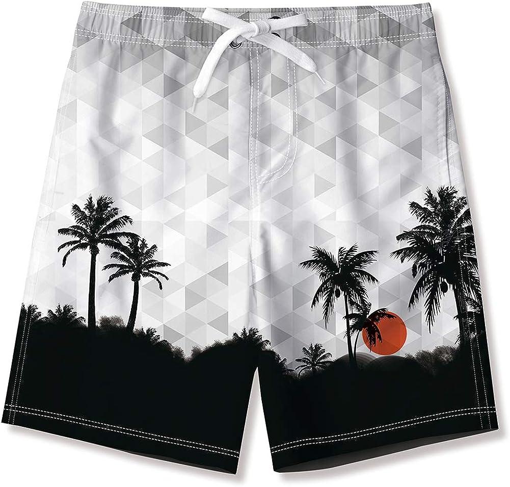 ALISISTER Boys Swim Trunks Toddler Beach Shorts Boardshorts Pockets Elastic Drawstring Quick Dry 5-14 Years Old