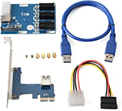 PCI-E Express 1X 1 to 3 Port Switch Multiplier Expansion Hub Riser Card + 4 Pin SATA Power Connector + USB 3.0 Cable