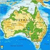 Poster 50 x 50 cm: Australien - Topographische Karte