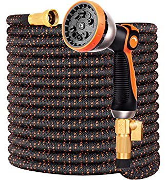 Expandable Garden Hose 100FT Water Hose with 10 Function Nozzle and Durable 4-Layers Latex Extra Strength 3750D Flexible Hose with 3/4  Solid Brass Fittings and High Pressure Water Spray Nozzle Hoses