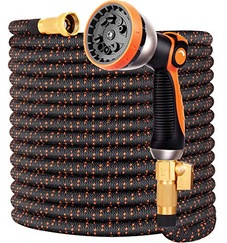 """Expandable Garden Hose 100FT Water Hose with 10 Function Nozzle and Durable 4-Layers Latex, Extra Strength 3750D Flexible Hose with 3/4"""" Solid Brass Fittings and High Pressure Water Spray Nozzle Hoses"""