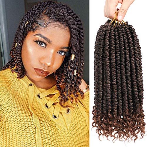 Fayasu Spring Senegalese Twist Crochet Braids Curly End Havana Mambo Passion Twist Hair Extension 6 Pieces T30