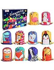 BeebeeRun 10pcs Zaino con Coulisse Bambini,Sportiva sacche palestra sacchettini per Bambini Festa di Compleanno Borsa Sacchetto Festa