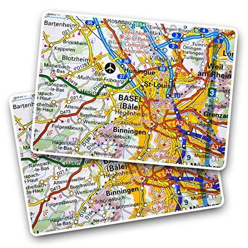 Awesome Rectangle Stickers(Set of 2) 7.5cm - Basel Switzerland Swiss France Travel Map Fun Decals for Laptops,Tablets,Luggage,Scrap Booking,Fridges,Cool Gift #44227