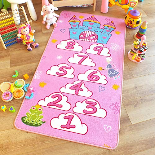 The Good Rug Company Excelente niños/Childs Alfombra Princesa Castillo Hopscotch Rosa Alfombra...