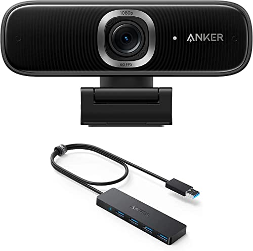 discount Anker outlet online sale PowerConf C300 Smart Full HD Webcam & Anker 4-Port USB 3.0 Hub Home Office Bundle, 1080p AI-Powered Framing & Autofocus, Ultra-Slim Data USB Hub with 2 outlet sale ft Extended Cable sale