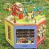 木製ビーズアクティビティセンター パズル木製アクティビティキューブ - 学習活動キューブ、ウッド形状&色選別機、ビーズ迷路赤ちゃんのおもちゃ カラフルなジェットコースターゲーム (Color : Multi-colored, Size : Free size)