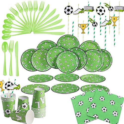 BETOY Fußball Gebutstag Party Set 120 Stück Geburtstagsdeko Fussball Einweg Geschirr Partyzubehör Set Partygeschirr Geburtstagsset für Kindergeburtstag Fußball-thematische Partydekor