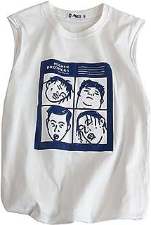 [ジャンーウェ] メンズ タンクトップ tシャツ プリント おしゃれ スポーツ 学生 ゆったり