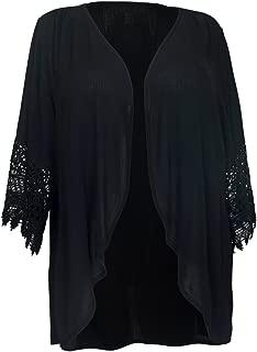 eVogues Plus Size Crochet Detail Open Front Cardigan Black