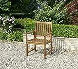greemotion Gartenstuhl Borkum Outdoor-Stuhl mit Armlehne Gartensessel aus Akazie massiv - 7
