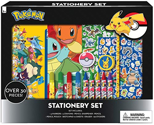 Innovative Designs Pokemon Kids Coloring Art and Sticker se, 30 Pcs. & Craft Supplies with Pencil Case