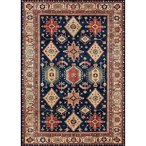 """RUGGABLE Noor Sapphire Washable Indoor/Outdoor Stain Resistant 5'x7' (60""""x84"""") Area Rug 2pc Set (Cover and Pad)"""