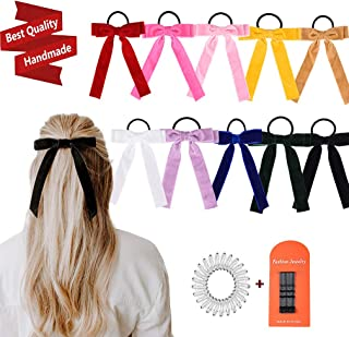 10Pcs Bow Hair Tie Velvet Elastics Hair Scrunchie Bobbles Hair Bands Scrunchy Hair Rope Long Hair Bow Ponytail Holder Accessories for Women Girls