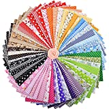 ZGXY Fabric, 56 pcs/lot Top Cotton 9.8' x 9.8' (25cm x 25cm) Squares Patchwork, Precut Multi-Color and Different Pattern for Sewing Quilting Crafting, Home Party Craft Fabric DIY Sewing Mask