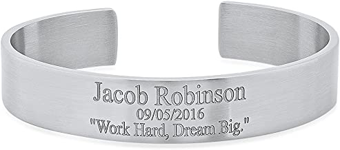 Free Engraving - Stainless Steel Quality Cuff Bracelet