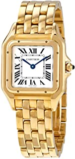 Panthere de Cartier Medium Silver Dial 18kt Yellow Gold Ladies Watch WGPN0009