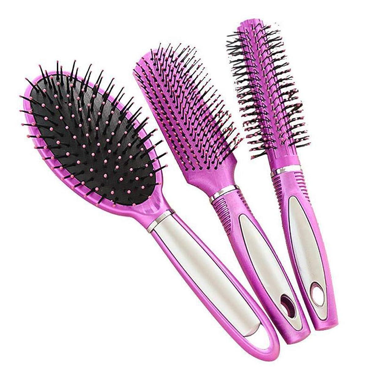 インタラクションうまれた尊敬する帯電防止プラスチック製のヘアブラシ、すべての髪の種類のためのヘアマッサージDetangler(3PCS)