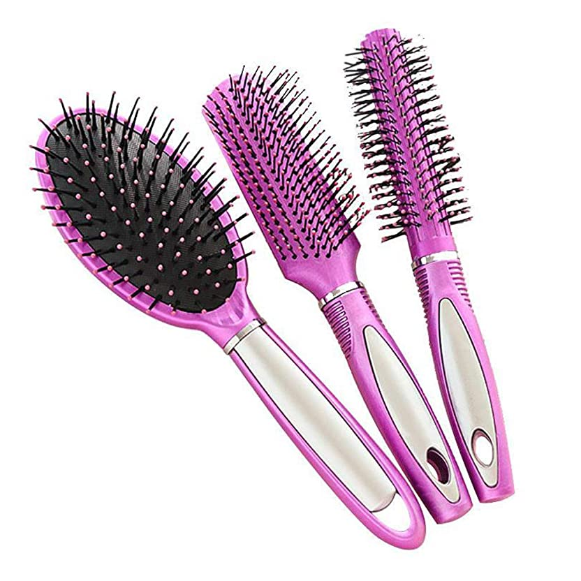 居心地の良い偶然の宇宙船帯電防止プラスチック製のヘアブラシ、すべての髪の種類のためのヘアマッサージDetangler(3PCS)
