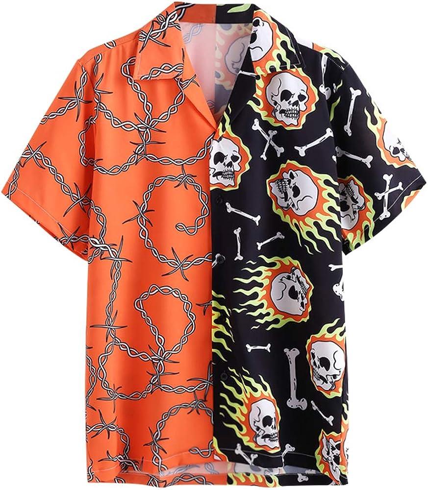 ZAFUL Men's Casual Short Sleeves Skull Spliced Printed Halloween Button Up Shirt