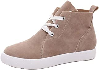 Gaorui Women's Suede Comfort Ankle Boots Flat Round Toe Lace Up High Top Board Shoes
