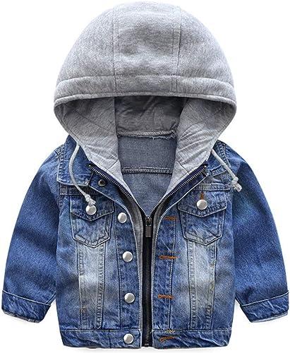 Garçons Capuche Veste en Jean Blouson Enfant Manteau Casual Manches Longues éclair Bleu Denim Haut Vêtements Printemp...