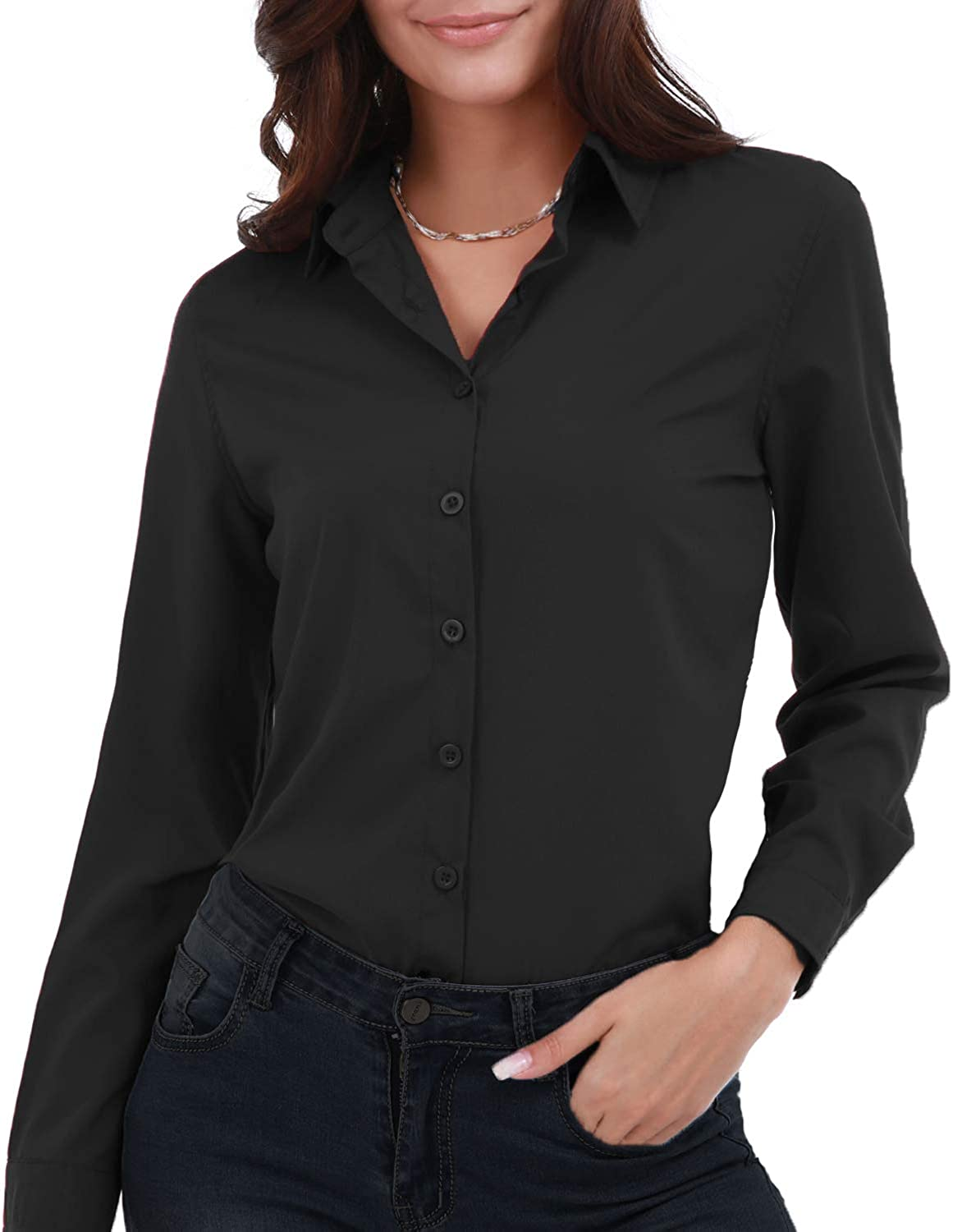 Gemolly Women's Basic Button Down Shirts Long Sleeve Plus Size Simple Stretch Formal Casual Shirt Blouse
