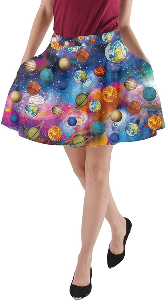 CowCow Womens A-line Skirt with Pockets Starry Night Sky Moon Stars Space Planets Mrs Frizzle Skater Skirt