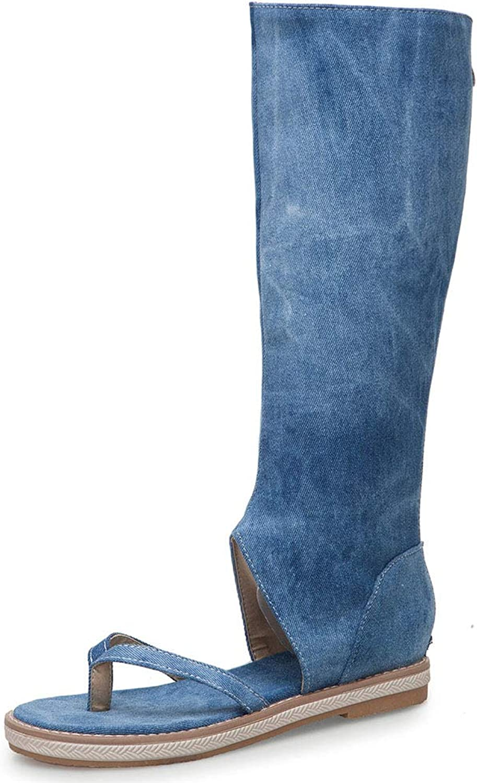 DoraTasia Women's Denim Flip-Flops Flat Sandals Cut-Out Knee High Boots Casual Summer Thongs shoes