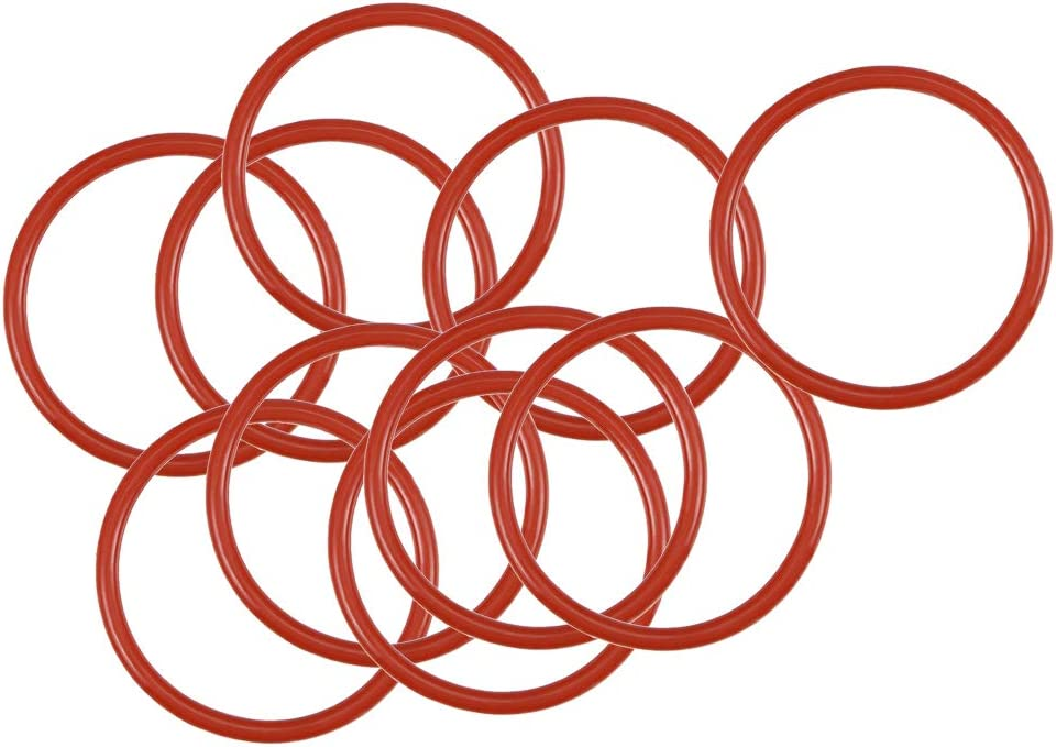 Pack of 10 12mm ID 1.5mm Width sourcing map Silicone O-Ring 15mm OD Red VMQ Seal Rings Gasket