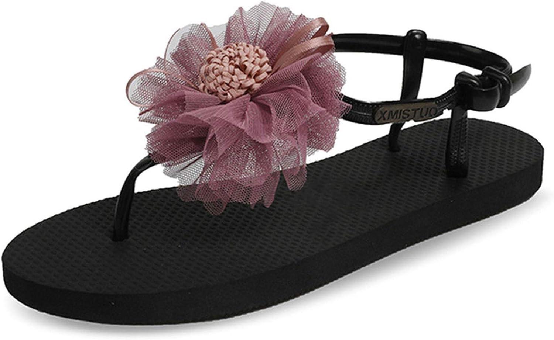 HANBINGPO Pink Flower Gladiator Sandals Women Sandal Flat Ladies Summer Flip Flops Black Beach Sandal