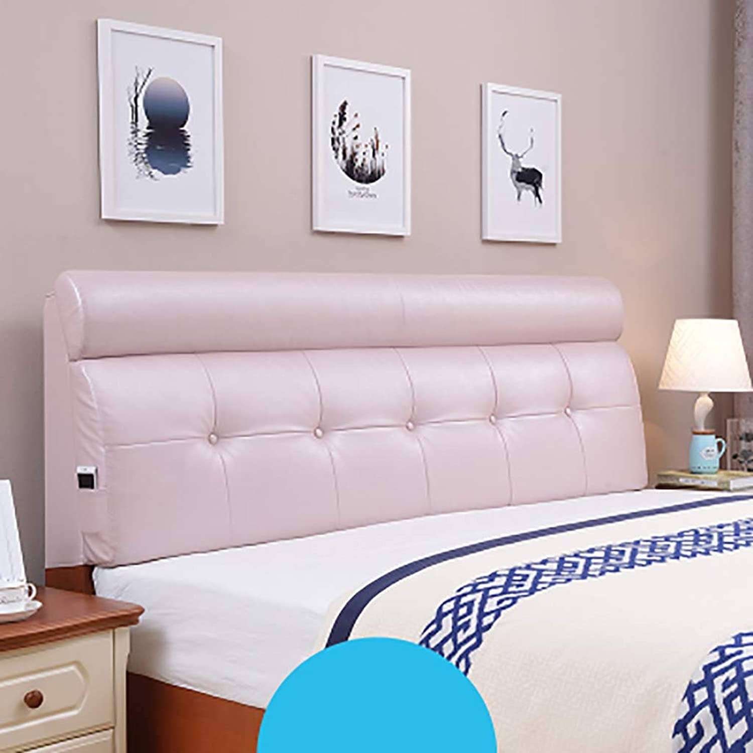 Headboard Bed Backrest Cushion Bed Cushion Bedside Pillow Leather with Bed headboard Large Soft Pillow Lumbar Support,Detachable 5 Solid colors 14 Sizes (color   Pink, Size   160  60  10CM)