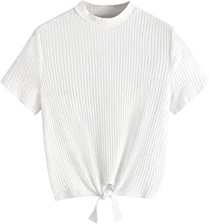 SweatyRocks Women's Casual Basic Solid Tie Knot Short Sleeve Knit Tee Shirt Tops