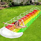 14Ft Lawn Water Slide Rainbow Silp Slide with Spraying and Inflatable Crash Pad for Children Play...